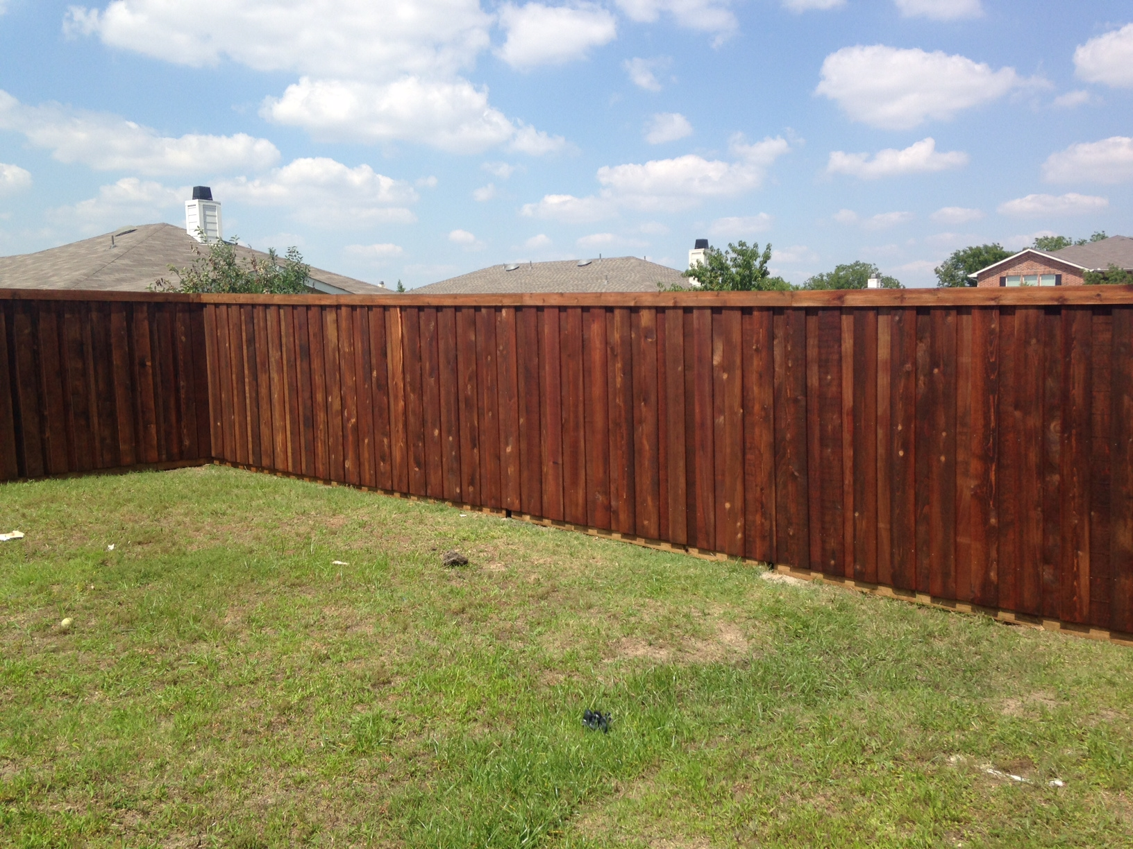 New Stained Cedar Fence For Little Elm Customer Frisco