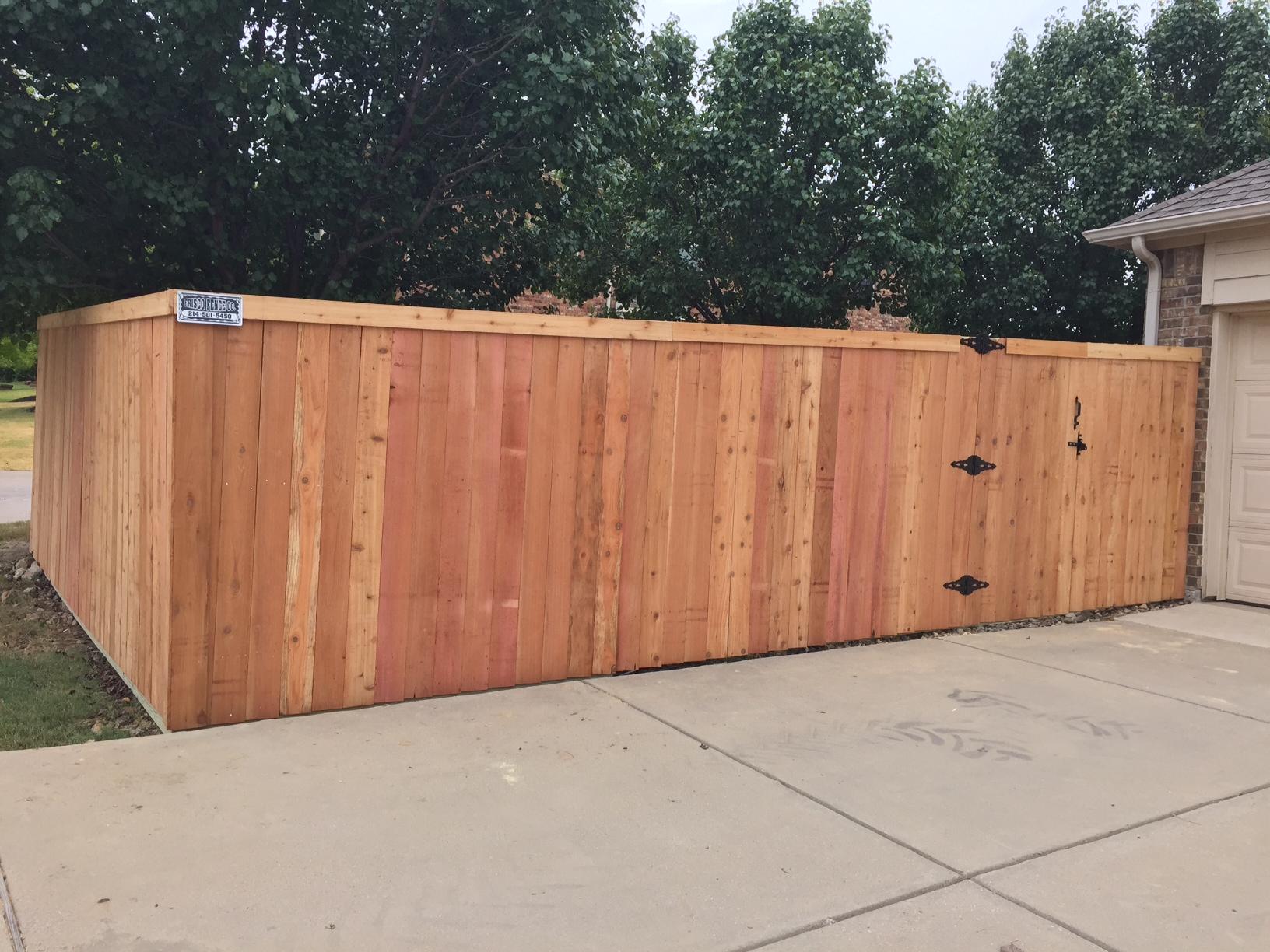 new six foot side by side cedar fence in frisco frisco fence llc