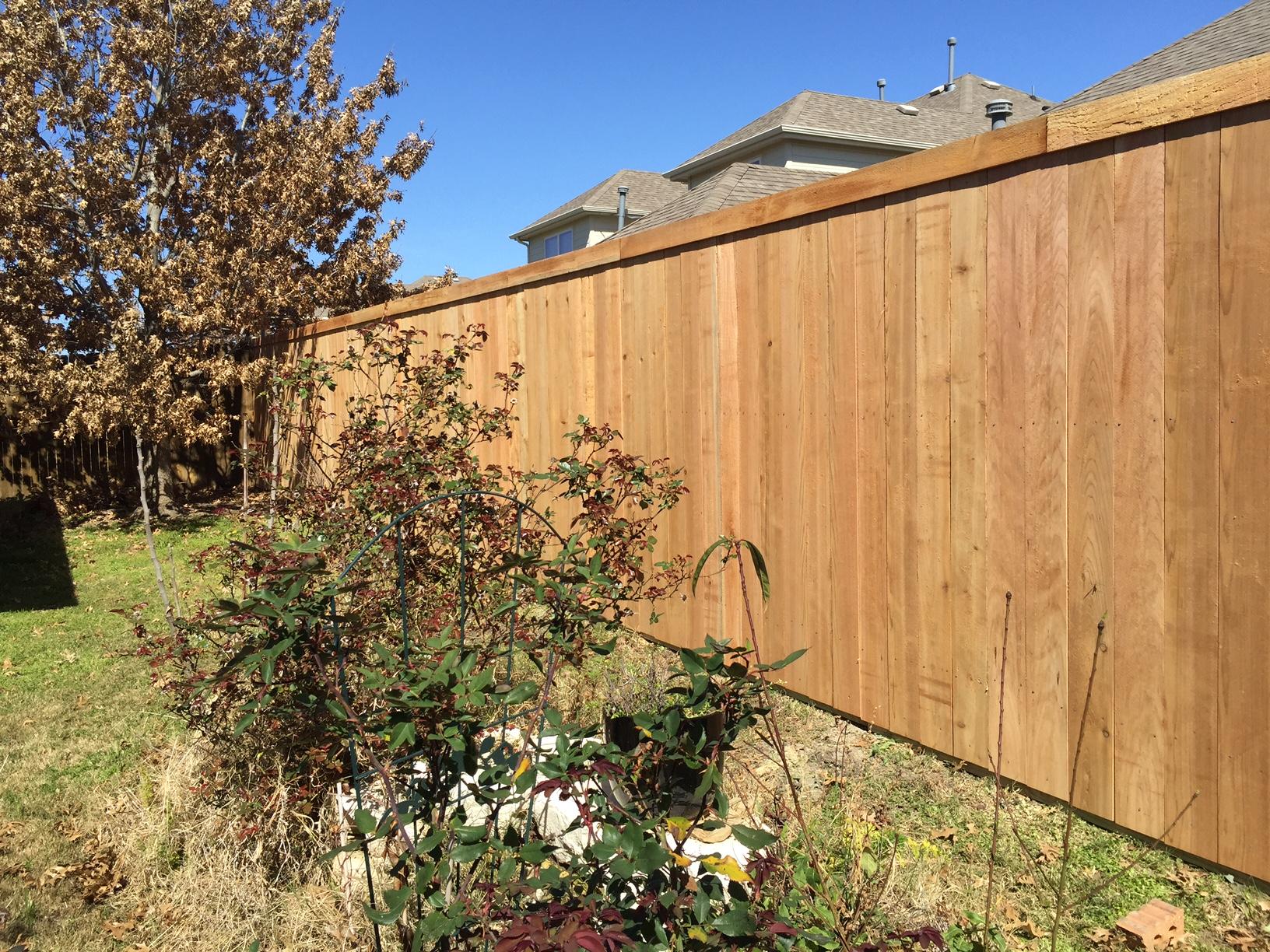 New Unstained Side By Side Cedar Fence In Little Elm