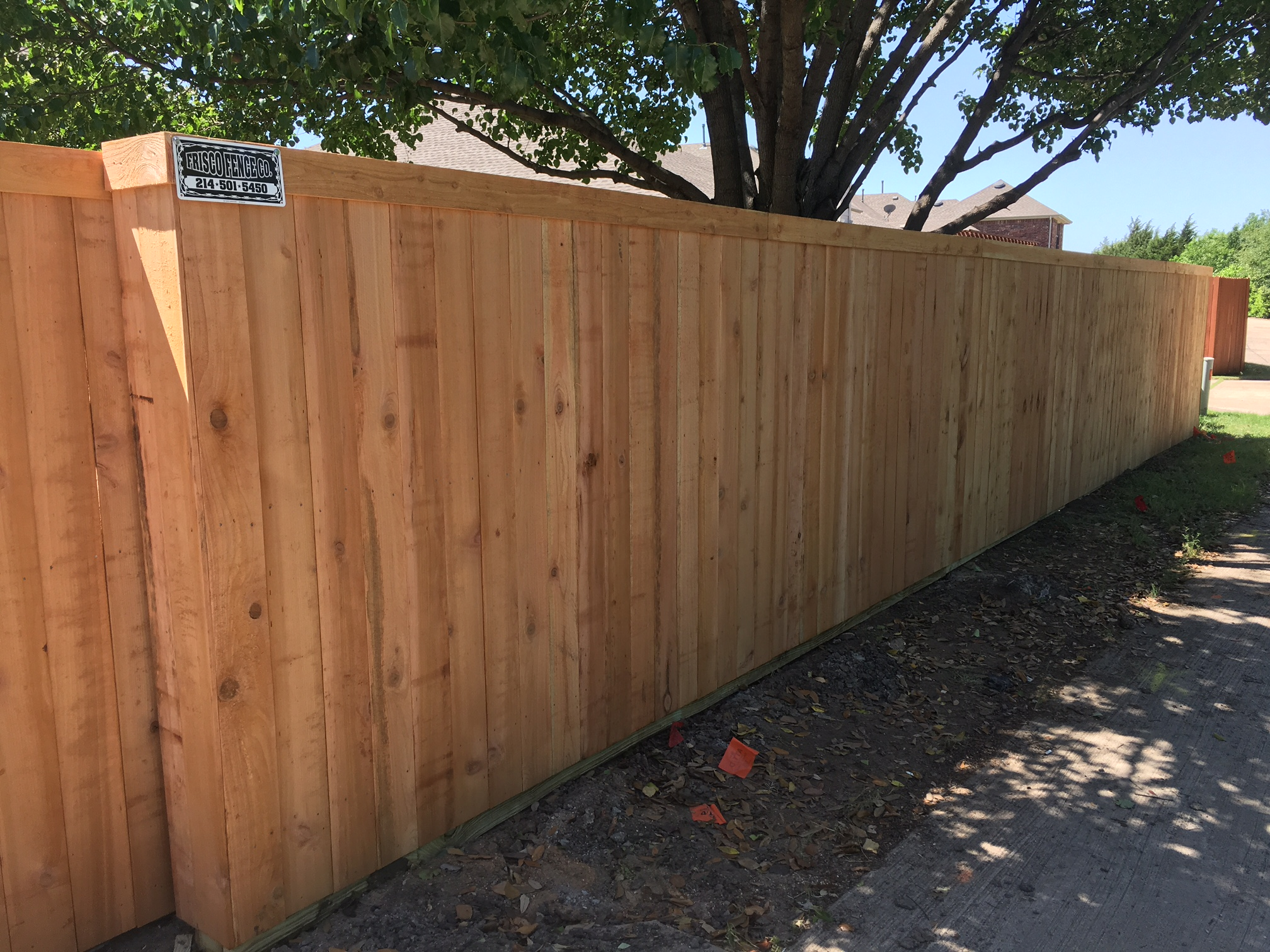 Unstained Six Foot Cedar Side By Side Fence With Electric